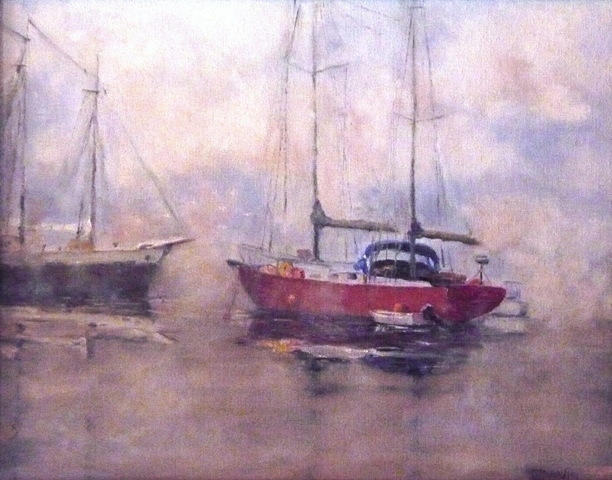 Misty Morning Harbor, Oil on canvas, 11×16 in.